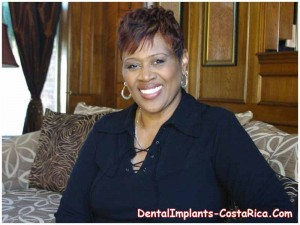 A beaming dental implant Costa Rica patient