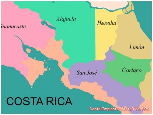 The map of Costa Rica