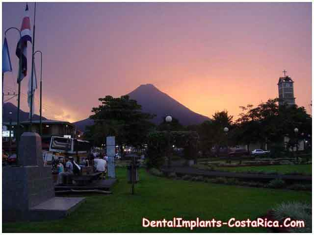 A Volcano at Sunset in Costa Rica